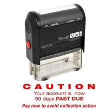 ExcelMark CAUTION 90 DAYS PAST DUE Self Inking Rubber Stamp A1848 | Red Ink