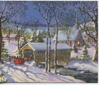 VINTAGE CHRISTMAS COZY CHURCH VILLAGE COVERED BRIDGE SLEIGH HORSE GREETING CARD