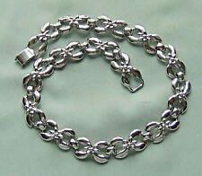 Vintage BERGERE Silver Tone Flower Choker Necklace