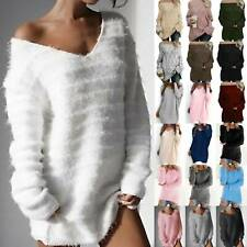 Womens Outdoor Knitted Sweater Crochet Long Sleeve Pullover Jumpers Fleece Tops