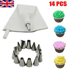 CAKE PIPING ICING CUPCAKE DECORATING COTTON BAG NOZZLE SET SUGARCRAFT CUP 14Pcs