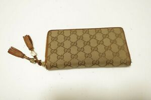 Authentic GUCCI GG canvas Brown Zip Around Leather Wallet #9860
