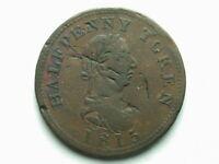 Canada 1815 Genuine British Copper Half Penny Token