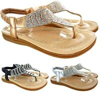 LADIES WOMENS FLAT TOE POST SLINGBACK DIAMANTE SUMMER COMFORT SANDALS SHOES SIZE