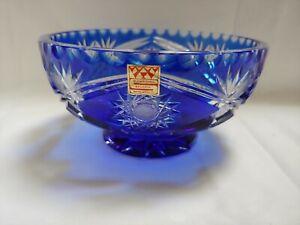Bleikristall schale blau Schleuderstern, Überfang,wie neu!