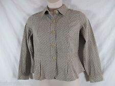 Christopher & Banks Cotton Blend Brown Tan Striped Peplum Fitted Top PETITE Med