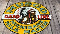 "VINTAGE MUSGO MICHIGANS MILE MAKER INDIAN 12"" PORCELAIN METAL GASOLINE OIL SIGN"