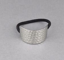 Silver metal cuff genie style ponytail holder stretch elastic pony tail cover