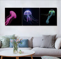 "16x16""x3pc Colorful Jellyfish Abstract Home Decor Modern Art Printed on Canvas"
