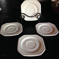 Set of FOUR Saucers Continental White, Mikasa, Octagonal, F3000 Japan