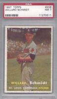 1957 Topps baseball card #206 Willard Schmidt, St. Louis Cardinals graded PSA 7