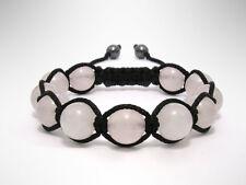 Natural Rose Quartz Gemstone Bead Shamballa Womens Adjustable Jewelry Bracelet