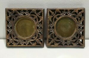 Pair Candle Holder Plate Carved Wood Decorative Ornate