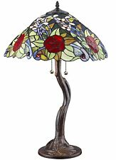 "Tiffany Style Stained Glass Rose Tree Table Lamp 2 Light 18"" Shade Handcrafted"