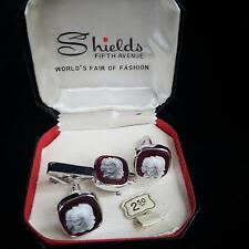 Shields Fifth Avenue Silver Cufflinks Tie Clip Set Gladiator Carved Cameo Red