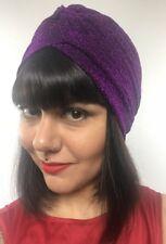 Bonnet turban stretch violet à paillettes pinup burlesque rétro sexy original