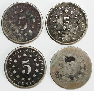 4 Coin Lot 1870-1874 Shield Nickels 5c US Type Coins Lower Grade Worn Coins