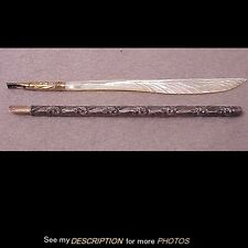 2 Antique Victorian Dip Pens Sterling & Mother of Pearl