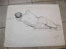 Fusain Etude de nu allongé André Simon 1926-2014 2002 Artiste Lorrain