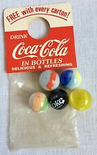 Vintage Coca Cola 5 Shooter Marbles Set Bottle Topper Premium Old Store Stock