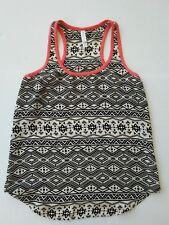 Womens XS Extra Small Tank Top XHILARATION Thin Summer White Black Pattern
