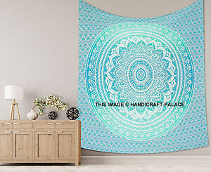Indian Mandala Queen Wall Hanging Bohemian Bedcover Decor Green Tapestry Throw