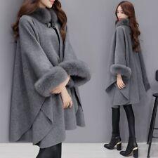 Fashion Winter Womens Long Warm Parka Faux Fur Jacket Coat Cape cloak plus size