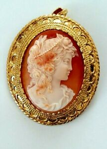 SHELL CAMEO  FLORA PENDENT AND BROOCH SIGNED A.PERNICE