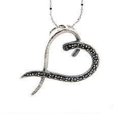 RRP$98 VINTAGE STYLE STERLING SILVER STAMPED 925 PYRITE HEART NECKLACE + CHAIN