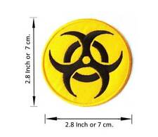 IRON PATCH ON RADIATION DANGER BIOHAZARD SIGN SYMBOL SAW EMBROIDERIED APPLIQUE
