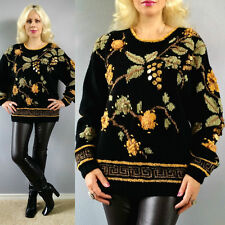 Vtg 80's Embroidered Gold Coins Carole Little Hand Knit for Saint Tropez Sweater