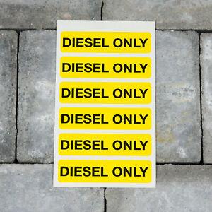 Six Diesel Only Self Adhesive Vinyl Stickers - Yellow - 80mm x 20mm - SKU5278