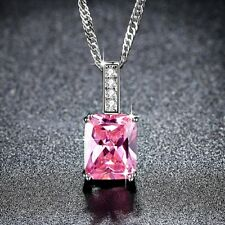 Ladies Baby Pink Crystal White Gold Filled Rectangle Necklace Fashion Jewelry