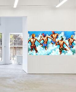 Framed Canvas beach surf life saving abstract art print painting Gold Coast