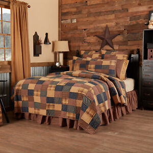 Patriotic Patch Twin Quilt 3 pc Bedding Set Red Navy Khaki Americana Country