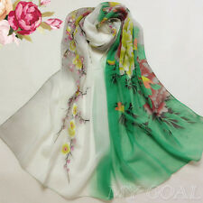 green Floral Chiffon Kaftan Tunic Scarf Dress Tops Wing Beach Cover Swimwear