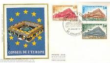 1977**ENVELOPPE SOIE**FDC 1°JOUR**CONSEIL DE L'EUROPE**TIMBRE Y/T 53/55