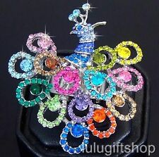 WHITE GOLD PLATED BIG PEACOCK BIRD RING USE COLOUR SWAROVSKI CRYSTALS FREE SIZE