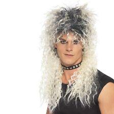 70s 80s 1980s Mens Rocker Rockstar Fancy Dress Wig Blonde/Roots New by Smiffys