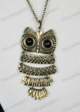 BIG ARTICULATED OWL long chain PENDANT NECKLACE brass
