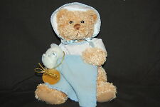 "Tan Bear Baby Blue Blankie White Blue Gingham One Piece Bonnet Cute Plush 8"" Toy"