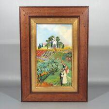 Vintage French Oil Painting Naïve Folk Art, Wedding, Mediterranean Landscape