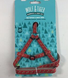 Wolf & Tiger Rosewood Adjustable Harness & Lead Set For Puppies & Small Dogs Red