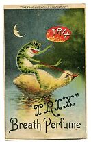 Victorian Trade Card TRIX BREATH PERFUME Frog riding Duckling XLARGE