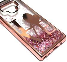 For Samsung Galaxy Note 9 - Rose Gold Love Heart Glitter Star Liquid  Case Cover