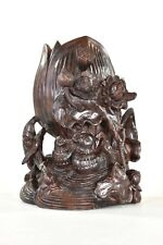 Asian Chinese Rosewood Carving / Carved Brush Pot / Pen Holder w Mandarin Duck