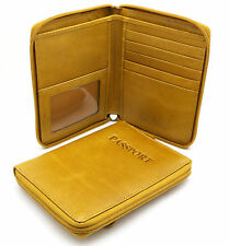 "Bifold Beige Yellow Genuine Leather ""Passport"" Zip Around Large Wallet"