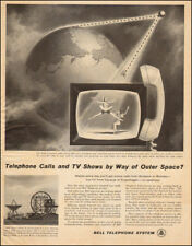 1959 vintage AD BELL TELEPHONE pioneers Communication Satellites TV Phone 092517