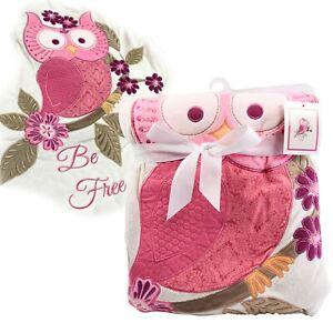 Baby Reversible Warm Owl Blanket Crib Pram Throw Kids Newborn Gift Animal Design