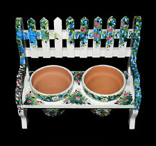 """Hand-Painted Floral Wooden Bench With 2 Pots For Flowers Or Herbs 8 1/4"""" x 7"""""""